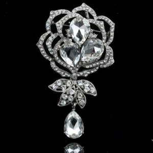 Swarovski Crystal 18 K White Gold Plate Rose Brooch Bridal wedding