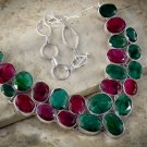 Faceted Ruby and Emerald Multi Gemstone necklace
