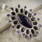 Amethyst and Garnet Multi Gemstone necklace pendant