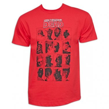 WALKING DEAD COMIC FACES RED T/S L