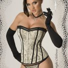 Beige Brocade with black lace Corset with Thong Plus Size