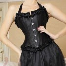 Black Satin Full Steel Boned Corset