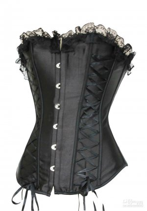 Medium Black Satin Corset with Side Lacing