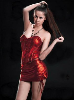 Large Sexy Red Faux Leather Corset with Mini Skirt