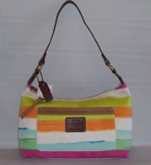 MANHATTAN WEEKEND WATERCOLOR STRIPE TOP HANDLE POUCH