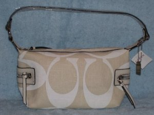 NYC WHITE LINEN DEMI HANDBAG