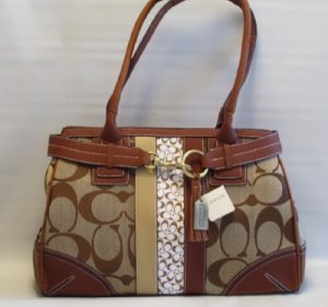 SIGNATURE STRIPE CARRYALL HANDBAG