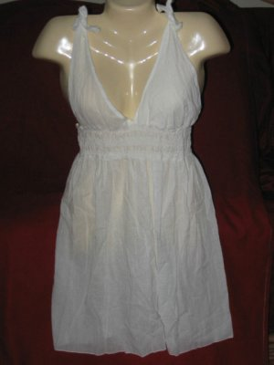 RALPH LAUREN SWIMSUIT COVER-UP WHITE 100% COTTON NWT L.