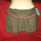 NWT Aqua Brand Cover-up skirt,Olive with white Polka Dots/Pink Trim $72 SZ: XS-S
