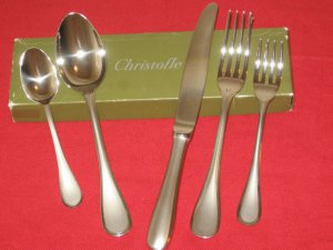 "CHRISTOFLE ( FRANCE ) ACIER FLATWARE ""ALBI SATIN"" STAINLESS 5 PC PLACE SET NIB."
