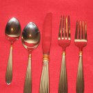 "Gorham ""GOLDEN SQUIRE""Stainless Flatware 5PC. Place Set New in Box,Made in Korea"
