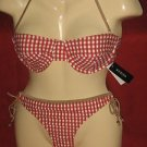 GUESS SEXY PICNIC RED CHECK ( UW BRA & TUNNEL PANT ) BATHING SUIT SIZE L NWT.
