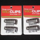 "Wig Clips 2-Pair (Snap-Comb) Brown,Large(17/16"") Snap Open with 10 Teeth,NIP."
