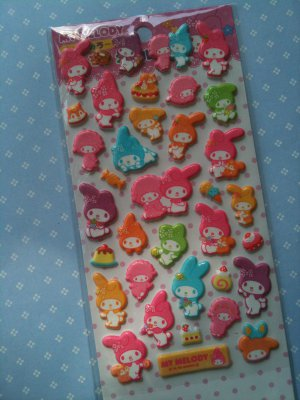 sanrio my melody puffy sticker sheet