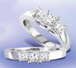 14k White Gold 1/2ct. Princess Cut Diamond Trellis Ring