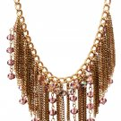 Olivia Welles Fringe & Crystal Beaded Bib Necklace