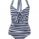 Seafolly Seaview Tie Front Halter Maillot - Indigo, Medium 8/US, BNWT