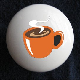 Coffee Mug Cafe Decorative Ceramic Dresser Cabinet Knob