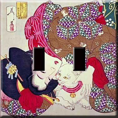 Geisha Girl Decorative Double Switchplate Cover