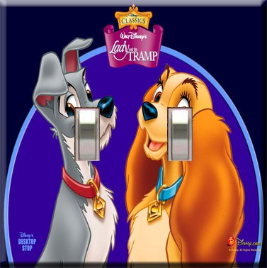 Lady & the Tramp Handcrafted Double Switchplate Cover