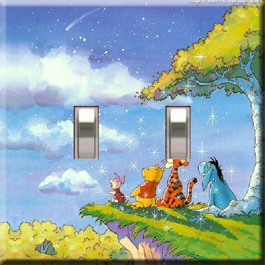 Winnie the Pooh Wish Upon a Star Handcrafted Double Swithplate Cover