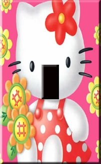 Hello Kitty in Pink Handcrafted Single Switchplate Cover