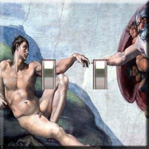 Michaelangelo's Creation Handcrafted Double Switchplate Cover
