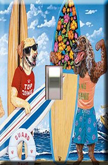 Surfin' Dawgs Handcrafted Single Switchplate Cover