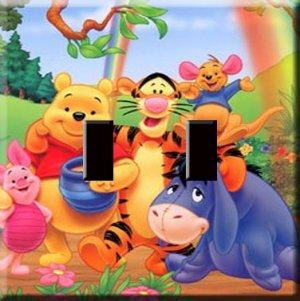 Winnie the Pooh & Friends Handcrafted Double Switchplate Cover