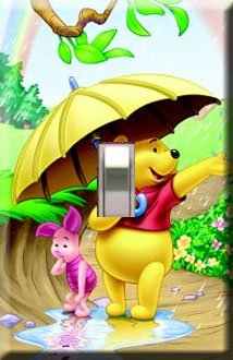 Winnie the Pooh Rainy Day Handcrafted Single Switchplate Cover