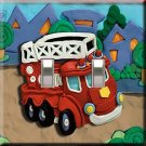 Firetruck Handcrafted Double  Switchplate Cover