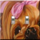 Precious Yorkie Handcrafted Double Switchplate Cover