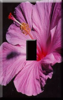 Purple Hibiscus Handcrafted Single Switchplate Cover