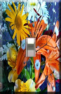 Spring Flowers Handcrafted Single Switchplate Cover