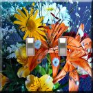 Spring Flowers Handcrafted Double Switchplate Cover