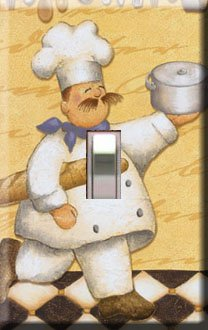 Kitchen Chef w/Bread Handcrafted Single Switchplate Cover