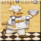 Kitchen Chef w/Bread Handcrafted Double Switchplate Cover