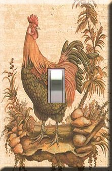 Kitchen Rooster Handcrafted Single Switchplate Cover