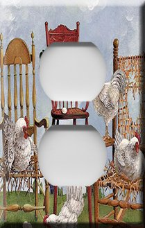 Lots of Roosters Handcrafted Outlet Cover