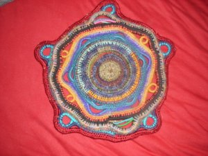 Colorful Eco-Friendly Upcycled Sculptural wall decor mandala or centerpiece