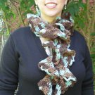 Aqua & Brown Rococo Ruffle Crochet Scarf