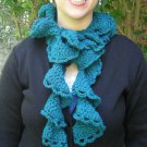 Teal Rococo Ruffle Crochet Scarf