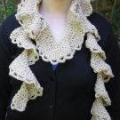 Creame Rococo Ruffle Crochet Scarf