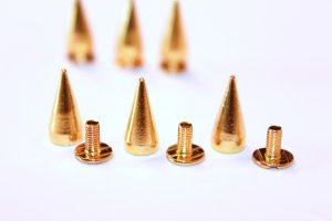 16mm Metal Screw back Spike Studs Gold 15pcs
