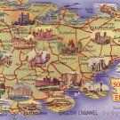Kent and SE England map card 1950s