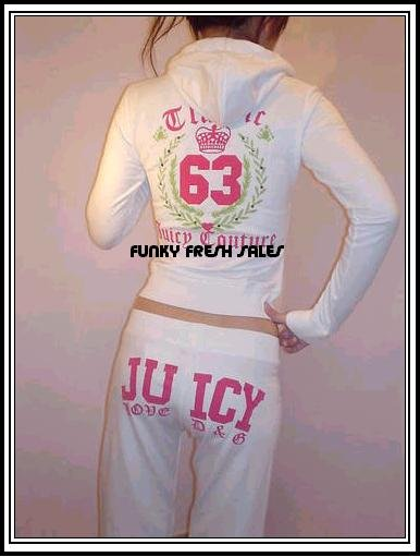 NWT White Authentic Juicy Couture Classic 63 Set Size Large