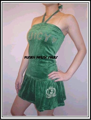 NWT Authentic Green Juicy Couture Velour Halter Dress Size Large