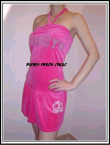 NWT Authentic Fuschia Juicy Couture Velour Halter Dress Size Small