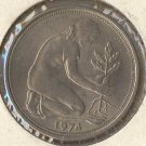1974-F WGer 50 Pfennig (AU) Large Mint Mark #125