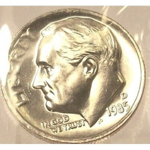1985-D BU Roosevelt Dime GEM BU #208